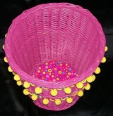 Hot Pink Wicker Waste Basket in Spring, Texas