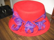 100% Wool red hat with purple detail in Columbus, Georgia